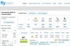Minneapolis-Orlando: Fly.com Search Results