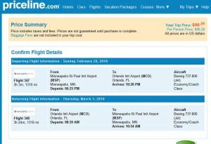 Minneapolis-Orlando: Priceline Booking Page