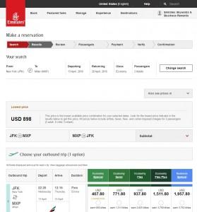 NYC to Milan: Emirates Booking Page