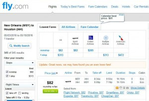 New Orleans-Houston: Fly.com Search Results
