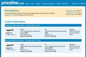 New Orleans-Houston: Priceline Booking Page