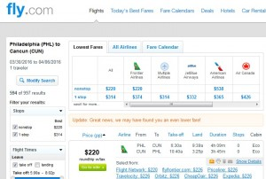 Philadelphia to Cancun: Fly.com Results
