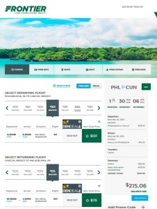 Philadelphia to Cancun: Frontier Booking Page