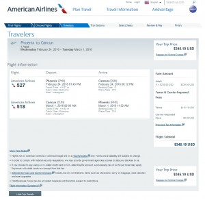 Phoenix to Cancun: American Airlines Booking Page