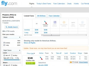 Phoenix to Cancun: Fly.com Results