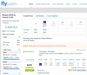 Phoenix to Toronto: Fly.com Results