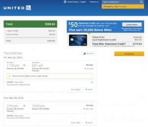 Phoenix to Toronto: United Booking Page
