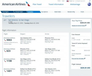 San Antonio-San Diego: American Airlines Booking Page