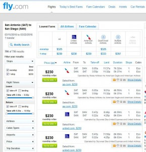 San Antonio-San Diego: Fly.com Search Results