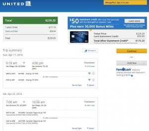 San Diego-San Antonio: United Airlines Booking Page