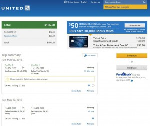San Francisco-Dallas: United Airlines Booking Page
