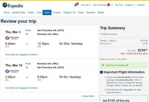 San Francisco-Honolulu: Expedia Booking Page
