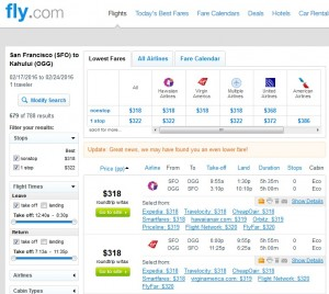 San Francisco to Maui: Fly.com Results