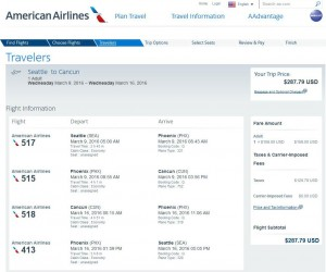 Seattle-Cancun: American Airlines Booking Page