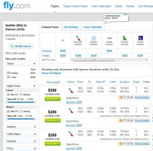 Seattle-Cancun: Fly.com Search Results