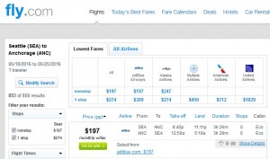 Seattle to Anchorage: Fly.com Results