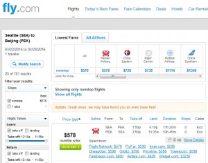 Seattle to Beijing: Fly.com Results
