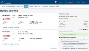 Seattle to Beijing: Travelocity Booking Page