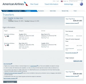 Seattle to New York City: American Airlines Booking Page
