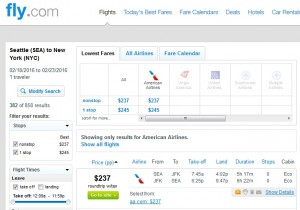 Seattle to New York City: Fly.com Results