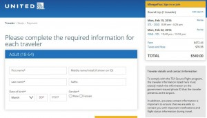 St. Louis-Kahului, Maui: United Airlines Booking Page