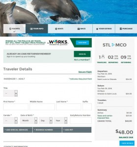 St. Louis-Orlando: Frontier Airlines Booking Page
