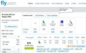 St. Louis-Tampa: Fly.com Search Results