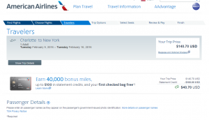 Charlotte to NYC: American Airlines Booking Page