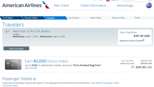 NYC to Rio: American Airlines Booking Page