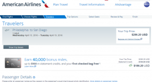 Philly to San Diego: American Airlines Booking Page