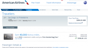 San Diego to Philly: American Airlines Booking Page