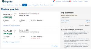 Atlanta to Denver: Expedia Booking Page