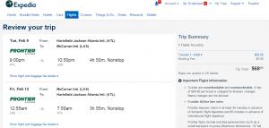 Atlanta to Las Vegas: Expedia Booking Page