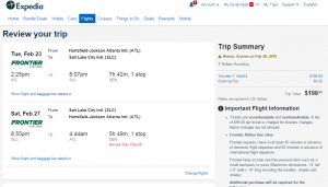 Atlanta to Salt Lake City: Expedia Booking Page