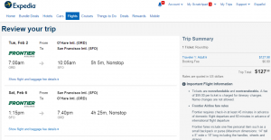 Chicago to SF: Expedia Booking Page