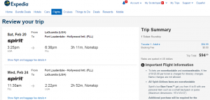 NYC to Fort Lauderdale: Expedia Booking Page