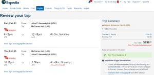 NYC to Las Vegas: Expedia Booking Page