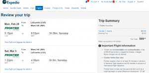 NYC to Miami: Expedia Booking Page