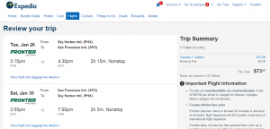Phoenix to SF: Expedia Booking Page