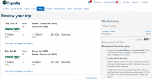 Seattle to Denver: Expedia Booking Page