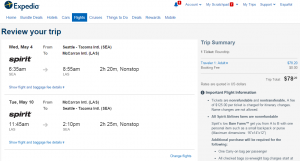 Seattle to Las Vegas: Expedia Booking Page