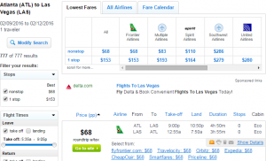 Atlanta to Las Vegas: Fly.com Results Page