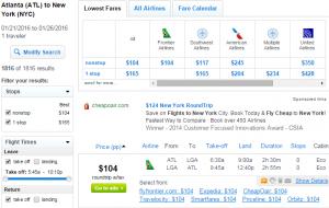 Atlanta to NYC: Fly.com Results Page