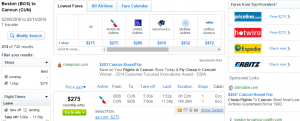 Boston to Cancun: Fly.com Results Page