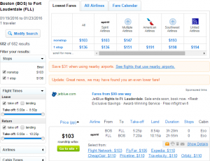 Boston to Fort Lauderdale: Fly.com Results Page