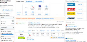 Baltimore to Miami: Fly.com Results Page