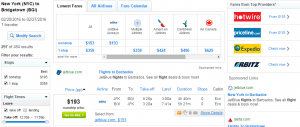 NYC to Bridgetown: Fly.com Results Page