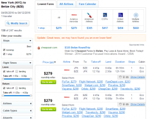 NYC to Belize City: Fly.com Results Page