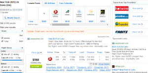 NYC to Cairo: Fly.com Results Page