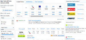 NYC to Cancun Fly.com Results Page
